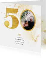 Jubileumkaarten - Jubileumkaart met gouden 50 en foto
