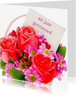 Jubileumkaarten - Jubileumkaart rode geschilderde rozen