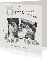 Jubileumkaarten - Jubileumkaart stijlvol botanisch met eigen foto's