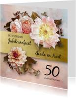 Jubileumkaart stijlvolle bloemen oude meesters roze