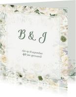 Jubileumkaarten - Jubileumkaart witte rozen en anemonen