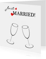 Felicitatiekaarten - Just married black white red