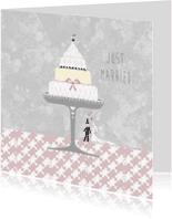 Felicitatiekaarten - Just married bruidstaart pastel