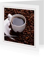 Uitnodigingen - Kaart koffie en koffiebonen