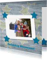 Nieuwjaarskaarten - Kaart met hout en sterren 16
