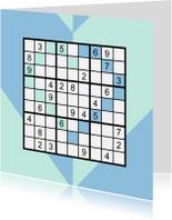 Liefde kaarten - Kaart met sudoku in hartvorm en hart in blauw