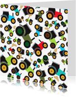 Verjaardagskaarten - Kaartje met trekker tractor patroon