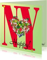 Nieuwjaarskaarten - KendieKaart-NY-Blossom hearts