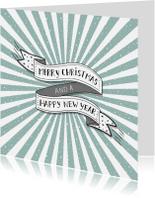Kerstkaarten - Kerst banner blauwe strepen