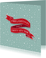 Kerstkaarten - Kerst banner rood sneeuw
