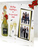 Zakelijke kerstkaarten - Kerst champagne roodborstje