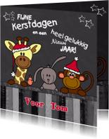 Kerstkaarten - Kerst dieren krijtbord 4knt