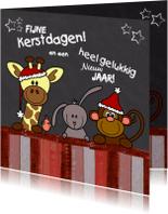 Kerstkaarten - Kerst dieren krijtbord rood V-HB