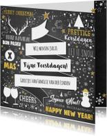 Kerst feestelijke typografische kerstkaart krijtbord-look
