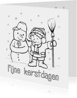Kleurplaat kaarten - kerst inkleurkaart met sneeuwpop en jongetje