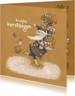 Kerstkaarten - Kerst - Kerstman en cadeaus - MW