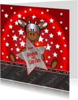 Kerstkaarten - KERST kinderkaart giraffe rood