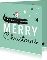 Kerstkaarten - Kerst silhouet krokodil vogel mint - MW