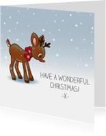 Kerstkaarten - Kerst - sneeuw rendier - TW