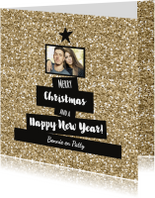 Kerstkaarten - Kerst Trendy glitter en  glamour foto kaart