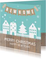 Kerstkaarten - Kerst-verhuiskaart huisjes slinger hout - LB