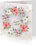 Kerstkaarten - Kerst-verhuiskaart met kerstrozen