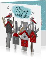 Kerstkaarten - Kerst vogelhuisjes