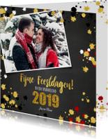 Kerstkaarten - Kerst vrolijke kaart krijtbord met goud elementen en foto