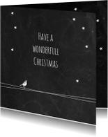 Kerst zwart wit vogel