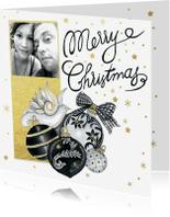 Kerstkaarten - Kerst zwartwit ballen