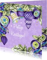 Kerstkaarten - Kerstbal kerstklok paars