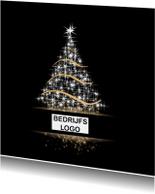 Zakelijke kerstkaarten - Kerstboom op zwart met kader
