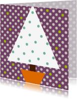 Kerstkaarten - Kerstboom polkadot paars