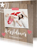 Kerstkaarten - Kerstdiner foto hout hartjes