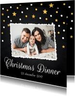 Kerstkaarten - Kerstdiner uitnodiging foto confetti - LB