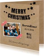 Kerstdiner uitnodiging foto kraft