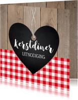 Kerstkaarten - Kerstdiner uitnodiging hartje rode ruit hout