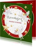 Kerstkaarten - Kerstdiner - uitnodiging met engeltjes