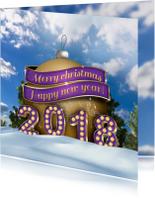 Kerstkaarten - Kerstkaart 2018 en kerstbal in sneeuw