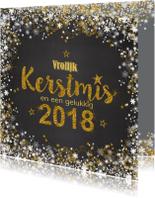 Kerstkaarten - Kerstkaart 2018 grijs goud romantisch handlettering