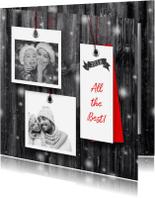 Kerstkaarten - Kerstkaart 2x foto en label op hout