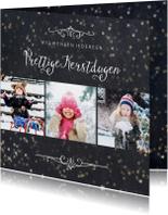 Kerstkaarten - Kerstkaart 3 foto's met sterretjeseffect en krijtbord