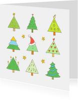Kerstkaarten - Kerstkaart 9 kerstbomen