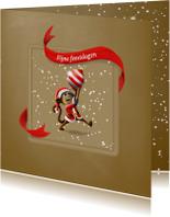 Kerstkaarten - Kerstkaart aapje met kerstbal linten en sneeuw