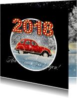 Zakelijke kerstkaarten - Kerstkaart auto in sneeuw 2018 RB