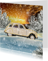 Kerstkaarten - Kerstkaart auto in winters landschap A