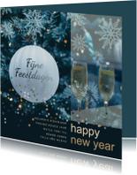 Nieuwjaarskaarten - Kerstkaart blauwe takken av