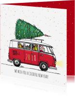 Zakelijke kerstkaarten - Kerstkaart Busje kleurrijk 2018