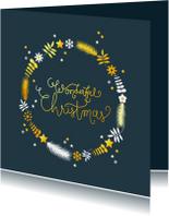 Kerstkaart cirkel met takjes en sterren