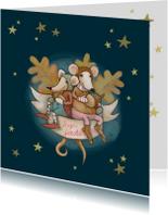 Kerstkaarten - Kerstkaart Cozy Mouse